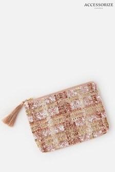 Accessorize Metallic Check Sequin Pouch Bag