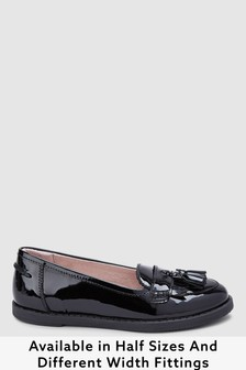 Black Patent Narrow Fit (E) Leather Tassel Loafers