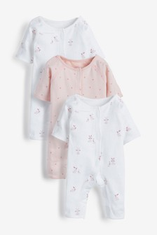 Pink 3 Pack GOTS Organic Premature Sleepsuits (0-0mths)