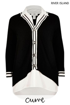 River Island Plus Black Shirt Hybrid Cardigan