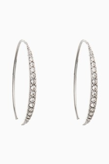 Sterling Silver Pave Pull Through Earrings