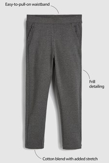 Grey Frill Detail Trousers (3-16yrs)
