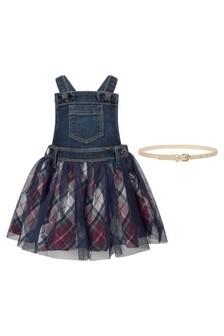 Baby Girls Navy Denim & Tartan Dungaree Dress