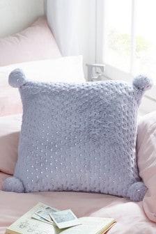 Metallic Star Pom Pom Cushion