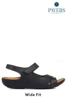 Pavers Ladies Black Touch Fasten Sandals