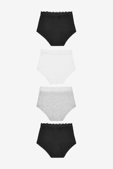Monochrome Full Brief Lace Trim Cotton Blend Knickers 4 Pack