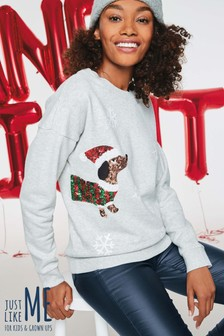 Grey Sequin Sausage Dog  Womens Christmas Sweater