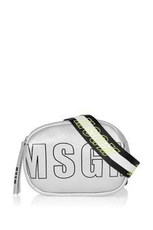 Girls Silver Eco Leather Logo Bumbag