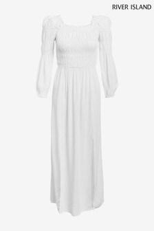 River Island White Shirred Puff Sleeve Maxi Dress