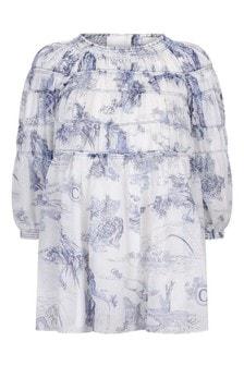 فستان قطن أبيض وحيد القرنبناتي