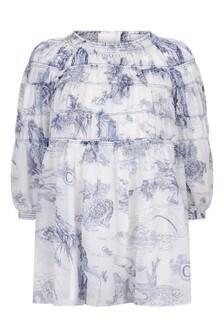 Girls White Cotton Unicorn Dress