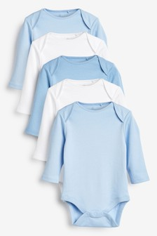 Blue 5 Pack Cotton Long Sleeve Bodysuits (0mths-3yrs)