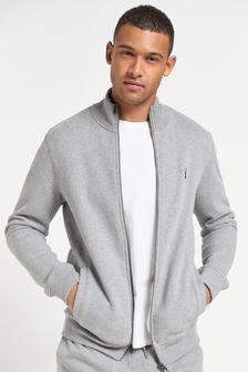 Grey Marl Zip Through Funnel Neck Top