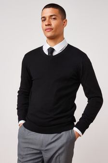 Black V-Neck Soft Touch Jumper