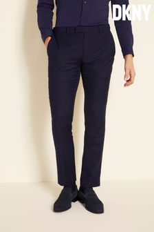 DKNY Slim Fit Navy Panama Open Weave Trousers