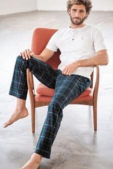 Ecru/Teal Check Cosy Pyjama Set