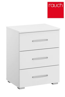 White Cameron 3 Drawer Bedside Table by Rauch
