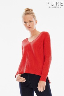 Pure Collection Red Gassato Pointelle Detail V-Neck Sweater