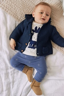 Navy Hooded Cardigan (0mths-3yrs)