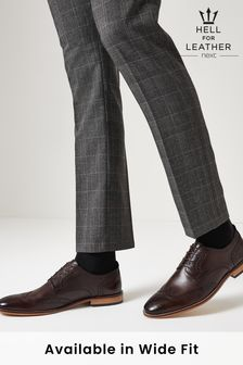 Brown Regular Fit Mens Contrast Sole Leather Brogues