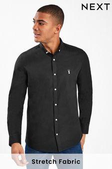Black Skinny Fit Long Sleeve Stretch Oxford Shirt