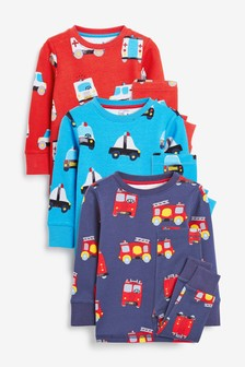 Multi 3 Pack Emergency Vehicles Snuggle Pyjamas (9mths-10yrs)