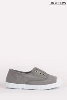 Trotters London Grey Plum Canvas Shoes