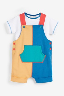 Multi Bright Organic Cotton Colourblock Dungarees And Bodysuit Set (0mths-3yrs)