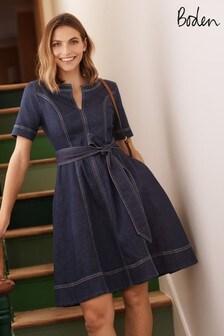 Boden Blue Eliza Belted Denim Dress