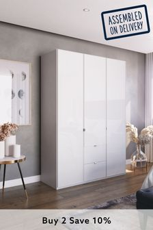 White Glass Monroe Three Door  Wardrobe