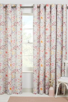 Pink Bright Floral Print Eyelet Lined Curtains