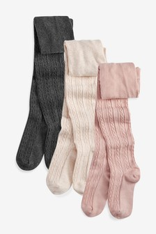 Pink/Charcoal/Oatmeal 3 Pack Cable Tights