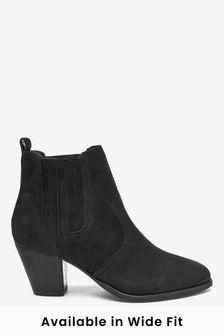 Black Regular/Wide Fit Forever Comfort® Western Ankle Boots