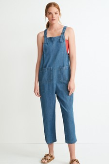 Mid Blue Wide Cropped Dungarees