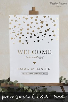 Personalised Small Foiled Confetti Wedding Sign by Wedding Graphics