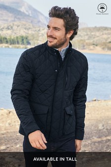 Navy Shower Resistant Diamond Quilted Funnel Neck Jacket