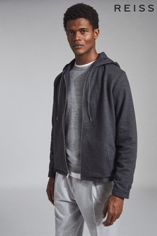 Reiss Grey Claygate Hybrid Reversible Hooded Jacket