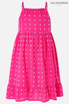 Accessorize Pink Mini Me Dobby Printed Dress