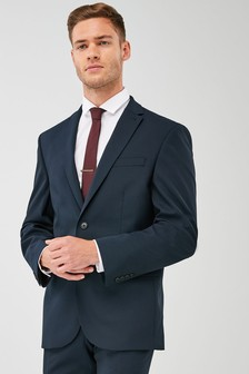 Navy Regular Fit Wool Blend Stretch Suit: Jacket