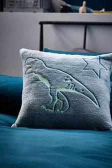Teal Blue Glow In The Dark Supersoft Fleece Dinosaur Cushion