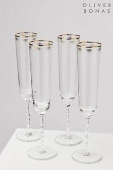 Oliver Bonas Set of 4 Dora Twist Stem Champagne Flutes