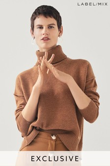 Tan  MIx/Rejina Pyo Open Back Roll Neck Knit