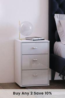 White Glass Monroe 3 Drawer Bedside Table