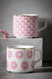 Set of 2 Floral Stackable Mugs