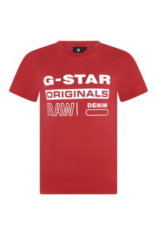 Boys Red Cotton Branded T-Shirt