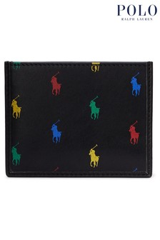 Polo Ralph Lauren Black Multi Logo Leather Card Case