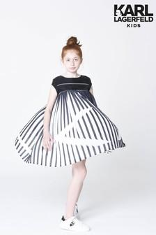 Karl Lagerfeld Black And White Stripe Pleated Dress