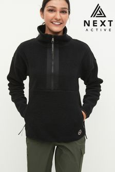 Black Overhead Zip Neck Fleece