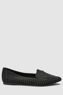 Black  Sparkle Point Loafers