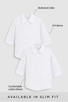 White 2 Pack Three Quarter Sleeve Blouses (3-16yrs)